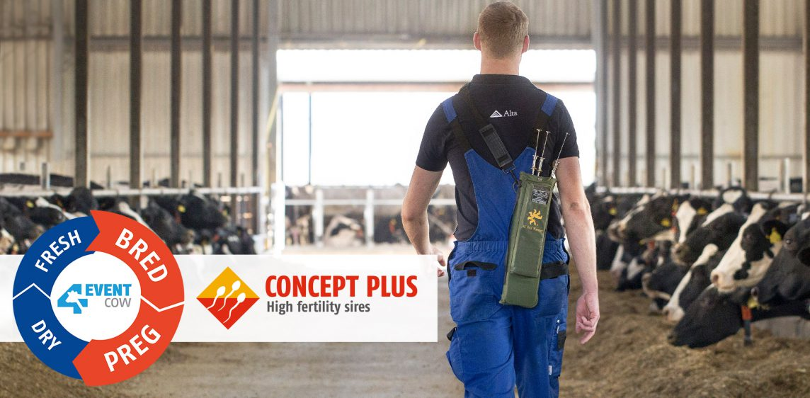 Alta AI technician in a barn, along with the CONCEPT PLUS and 4-EVENT COW logos